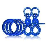 Ganzoo 3 x O - Ring aus Stahl und 2 x Scheren-Karabiner Haken mit Dreh-Gelenk/Dreh-Kopf im Set, DIY Hunde-Leine/Hunde-Halsband, nichtrostend, Ideal mit Paracord 550, Farbe: blau