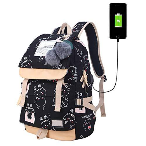 Deloito Rucksack Koreanisch Mode Tragen Schultertasche Weiblich Mittelschüler Tasche Reise-Leinwand Drucken Rucksack (C, M) -
