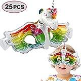 VAMEI 25 Piezas máscaras para los niños con elástico máscaras para Fiestas de cumpleaños Mascarada para niños Fiestas temáticas Favores Decoraciones (Unicornio)