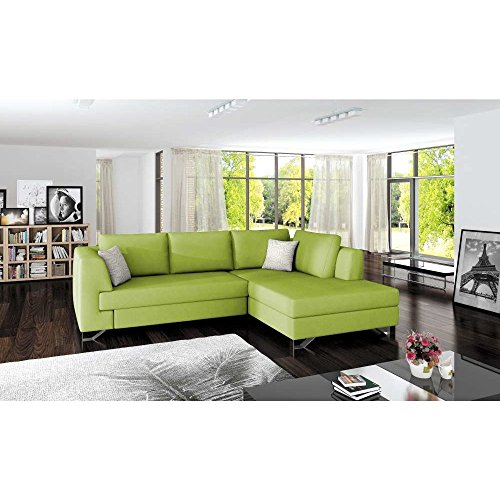 JUSThome MOHITO COMFORT Sofá esquinero chaise longue función de cama Sofá-cama con cajones Ante sintético (BxLxH): 196x280x86 cm Verde Brazo derecho