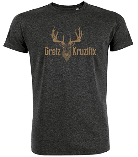Trachten T-Shirt Greiz Kruzifix Bio Baumwolle S-3XL Trachtenshirt Oktoberfest Bayrisch Wiesn Lederhosen Männer Herren Hirsch Österreich Darkgrey-Braun XL