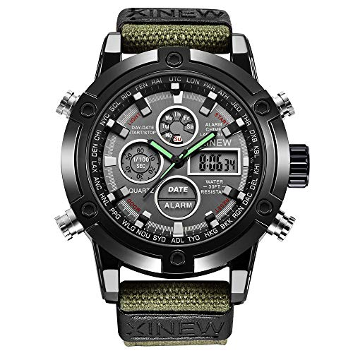 Challeng Herrenuhr LED Sportuhr Leder Quarz Analog Digital Business Armbanduhren Geschenk (Armee grün, One Size)