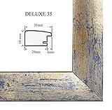 Bilderrahmen DELUXE35 61x91.5 oder 91.5x61 cm (Sondergröße, Puzzleformat) in BLAU GOLD SILBER mit AntiReflex Kunstglas und MDF Rückwand, 35 mm breite MDF-Leiste mit Dekor Folienummantelung