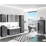 Badmöbel Komplett Set, Eiche Rauschsilber Nb. mit graphit, 120cm Waschtisch-Unterschrank mit Waschbecken, 3D LED Spiegelschrank mit Steckdose, Hochschrank, Unterschrank, Hängeschrank & Highboard