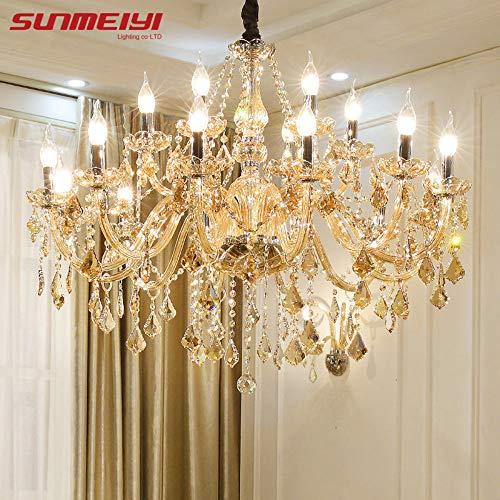 Lampadari di cristallo moderni Illuminazione domestica lustres de cristal Decorazione Pendenti di candela lampadario di lusso Soggiorno lampada da interno, 12 灯