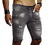 LEIF NELSON Herren Jeans Shorts Sommer Jogger Kurze Hose Jeanshose Chinos Cargo Bermuda Stretch Slim Fit LN9310; W32; Schwarz