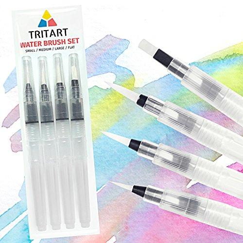 Water Brush Pen Wasserpinsel Set mit Tank für Aquarell / 4 Wassertankpinsel - Tritart Test
