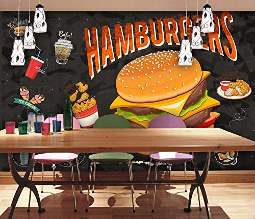 Maßgeschneiderte Tapete HD handbemalte Fast-Food-Burger Restaurant Catering Hintergrundbild @ 350 * 245cm - Fast-food-catering