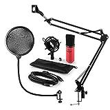 auna Mikrofonset V4 • Heimstudio Set • 3-teilig • MIC-900RD • USB-Kondensatormikrofon • Pop-Schutz • faltbarer Mikrofonarm inkl Mikrofonhalterung • Mikrofonspinne • Plug & Play • 1,5 kg • rot