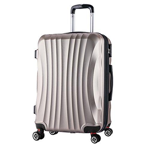 WOLTU RK4213ch-L, Reise Koffer Trolley Hartschale 4 Rollen Volumen erweiterbar, Reisekoffer Hartschalenkoffer Handgepäck, M/L/XL/Set, leicht und günstig, Champagne (L, 67 cm & 70 Liter)
