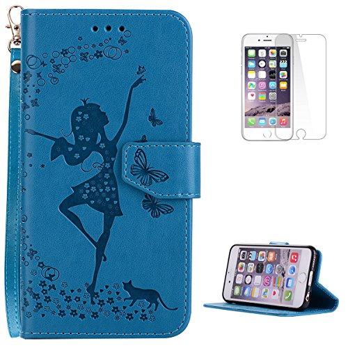 KaseHom-Custodia-in-pelle-rimovibile-per-iPhone-66S-47-Gratuito-Proteggi-schermo-Fata-danza-Ragazza-Progettazione-Portafoglio-Slot-schede-Flip-Magnetic-Antiurto-Copertina-Fondina-Marrone