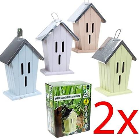 2 X LARGE INSECT HOTEL BUG HOUSE GARDEN BEE BUTTERFLY LADYBIRD HIBERNATION NEST