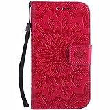 Galaxy S3 Hülle, Galaxy S3 Neo Hülle, Dfly Premium Slim PU Leder Mandala Blume prägung Muster Flip Hülle Bookstyle Stand Slot Schutzhülle Tasche Wallet Case für Samsung Galaxy S3 / S3 Neo, Rot