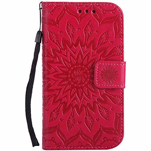 Galaxy S3 Hülle, Galaxy S3 Neo Hülle, Dfly Premium Slim PU Leder Mandala Blume prägung Muster Flip Hülle Bookstyle Stand Slot Schutzhülle Tasche Wallet Case für Samsung Galaxy S3 / S3 Neo, Rot (Ausgeschnitten Fuchsia)