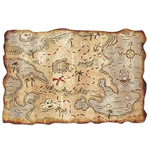Plastic Treasure Map Party Accessory (1 count) (Pirata Mappa)