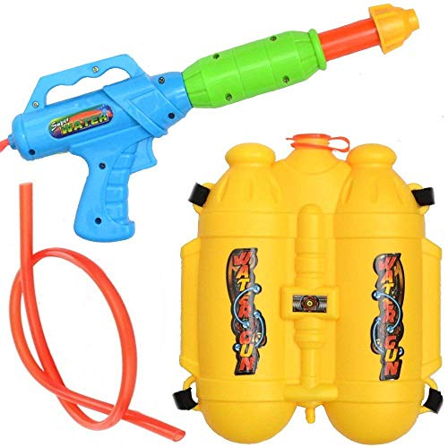 Wasserpistole/Wasserpistole Spritzpistole mit 3L Rucksack-Tank Wasserkanone Rückentank (Gelb) -