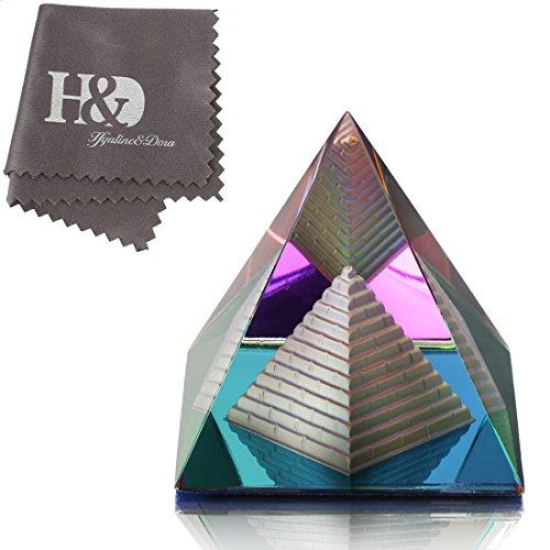 H&D Kristall bunt Pyramide Glas Briefbeschwerer Kunst Dekor Ornament mit Geschenkbox -