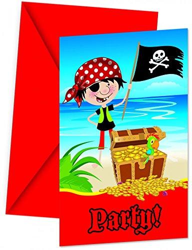 Pirate Corsaire Invitations Anniversaire fête (pack de 6)