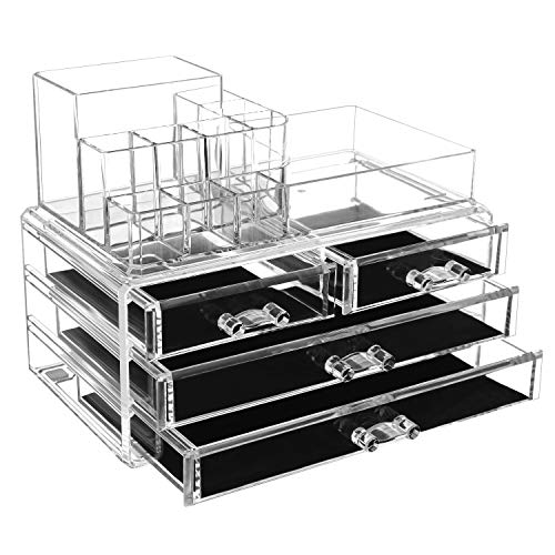 SONGMICS Acryl Kosmetik aufbewahrung Organizer 24 x 13,5 x 18,5 cm 2 Ebenen 4 Schubladen große, Transparent, JKA1