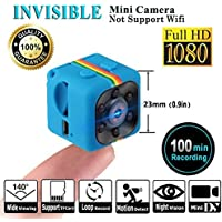 SQ11 1080P Mini Camera, Camera Sport Cam, HD Camcorder Night Vision Miniature Camera, Hidden Camera ( FOV140 , Miniature Camera) Mini DV Video Recorder for Home Security Surveillance by LITEBEE (Blue)