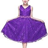 LaoZan Mädchen Kinder Kleid Festkleid Partykleider Hochzeit Festzug Brautjungfer Kleider Cocktailkleid Violett 140CM / 7-8 Jahre