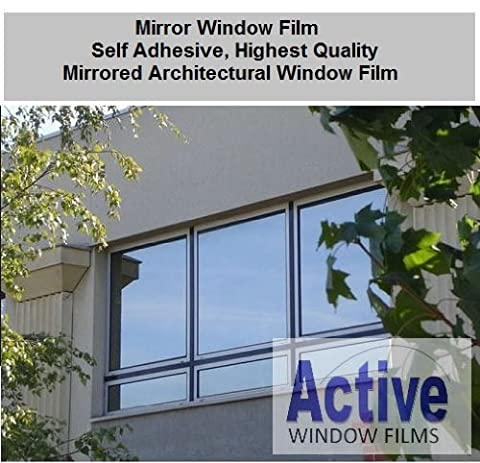 Silver Reflective Window Film (Solar Control & Privacy Tint - One Way Mirror / Mirrored Glass) (100cm x 1 metre - 10 metre) (100cm x 1