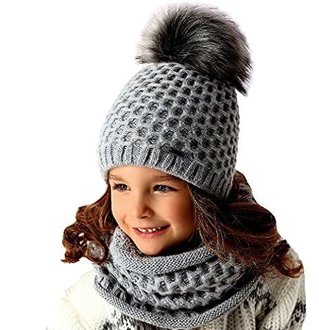 AJS Mädchen Winter Set Wintermütze Strickmütze Bommel mit Wolle Loopschal Grobstrick Farbe Rosa
