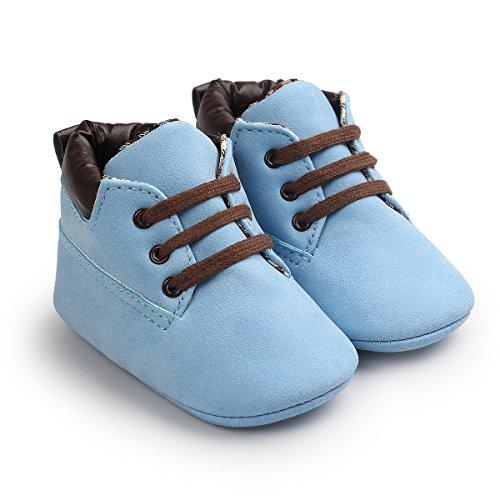 Chaussures bébé pour les 0-18 mois, Auxma bébé garçon doux chaussures en cuir bottes Prewalker Chaussures (11(0-6M), Kaki (hiver)) Bleu