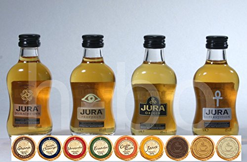 Set 4 schottische Jura Single Malt Whisky Miniaturen mit 9 DreiMeister Edel Schokoladen in 9 Variationen , kostenloser Versand