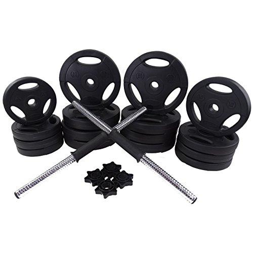 BodyRip - Set sollevamento pesi con bilancieri dotati di bloccadischi a vite, peso 20 kg