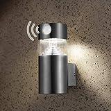 NBHANYUAN Lighting® Solar Wandlampe Aussen mit Bewegungssensor Dimmbar LED Außenleuchte Automatisch Eingestellte Beleuchtung Solarleuchten Schwarz Edelstahl 4000K Warmweiß Licht (Stil 2)
