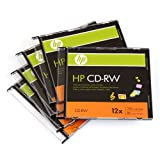 HP CD-RW 5 Pack Disc 12X 700MB Data/80 Minutes Music