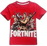 EMILYLE Jungen T-Shirt Fortnite Kinder Videospiele Fans Sommer Geek Battle PVP Multiplayer Kurzarm Top Teen Rundhalsausschnitt Tees (120cm (6-7 Jahre Alt), Rot)