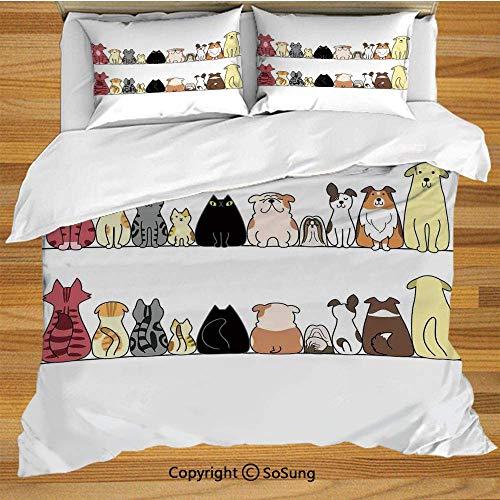 Kinderbettwäsche Bettwäscheset, Katzen und Hunde Collie Calico Labrador Schottisch Kurzhaar Tabby Shih Tzu Haustierliebhaber Kunstdruck Dekorativ Dekorativ 3-teiliges Bettwäscheset mit 2 Kissenbezügen -