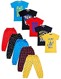 T2F Boy's Cotton Top and Bottom Pyjama Set - Pack of 10
