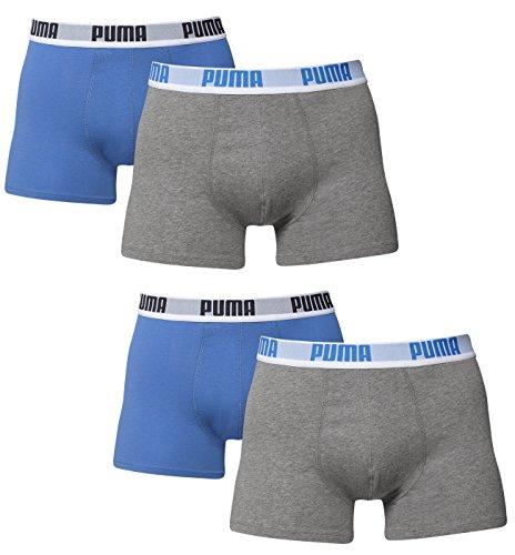 Puma Herren Boxer Basic Unterhosen 4er Pack in verschiedenen Farben 521015001 (blau/grau (417), M) (Socken Aus Unverbindliche Baumwolle)