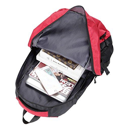 LQABW Outdoor-Nylon Wasserdichtes Haltbares Wandern Berg Beiläufiges Reduzierte Atmungsaktiv Rucksack Tasche Red