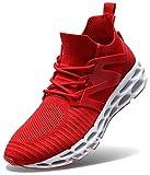 Wonesion Herren Fitness Laufschuhe Atmungsaktiv Rutschfeste Mode Sneaker Sportschuhe ,45 EU,  3-red