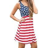CLEARANCE! MEIbax frauen drucken die amerikanische flagge sexy schulterfreie minikleid (Mehrfarbig, XL)