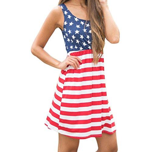 auen drucken die amerikanische flagge sexy schulterfreie minikleid (Mehrfarbig, L) (Flagge Kleid)