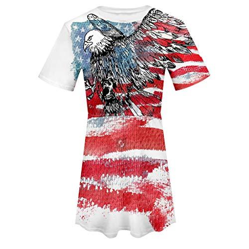 MAYOGO Tshirt Kleid USA Flagge Lang Blusen Tshirt Kurzarm Oberteile Tops Damen Sommerkleider Amerika Flagge Kleidung Independence Day Blusenkleid Tunikakleid (Usa Flagge Kleid)