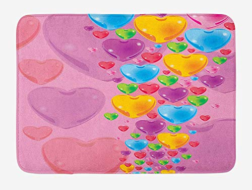 CHKWYN Princess Bath Mat, Romantic Stylized Art with Colorful Crystal Hearts Creative Fun Celebration Theme, Plush Bathroom Decor Mat with Non Slip Backing, 23.6 W X 15.7 W Inches, Multicolor -