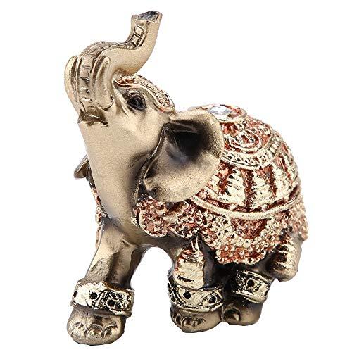 Golden Polyresin Estatua de elefante Escultura Tronco Riqueza Afortunada Coleccionable Estatuilla Regalo Decoración para el hogar Feng Shui Ornamento(S)