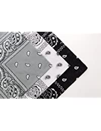Set of 3 Cotton Paisley Bandanas Khaki Dark Grey & White