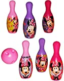 Unbekannt Set Bowling / Kegelspiel -  Disney Minnie Mouse  - incl. Name - Bunte Farben Kegeln Kegel - für Kinder / Erwachsene groß - Kind Kinderbowling - Garten Mädch..