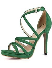 ZHIRONG Frauen Sommer High Heel Sandaletten Vintage Rom Hohle Kreuzgurte Offene spitze Starke Ferse Schuhe 75...