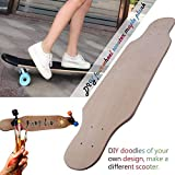 windyday Blank Skateboard Deck 9 -Layer DIY Graffiti langes Concave Skateboards Cruiser Holz Deck Holz Skateboard Kinder Tragfähigkeit: 100 kg 80 x 20x1cm