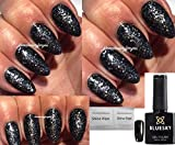 Bluesky 80633 10 mlGel-Nagellack, Farbe: Starstruck Dark Diamonds, Schwarzer und Silberner Glitzer, UV-/LED-Nagellack, durch Einweichen entfernbar, 10ml, mit 2 Homebeautyforyou-Glanztüchern
