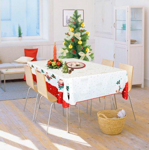 Mantel rectangular antimanchas, 150 x 200 cm, 6 o 8 personas, diseño de Navidad