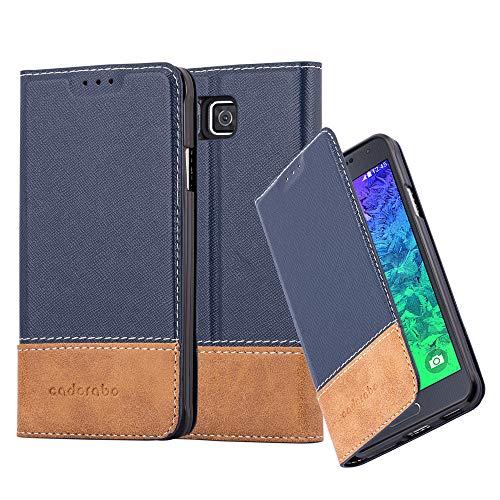 Cadorabo Hülle für Samsung Galaxy Alpha - Hülle in BLAU BRAUN – Handyhülle mit Standfunktion und Kartenfach aus Einer Kunstlederkombi - Case Cover Schutzhülle Etui Tasche Book